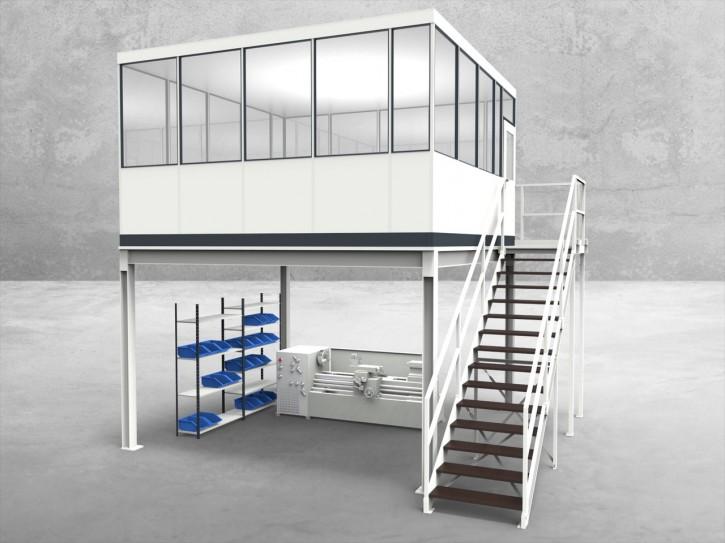 Hallenbüro auf Stahlbau 4-seitig 4,50 x 4,50 m 20,25 m² (HS4-4545)