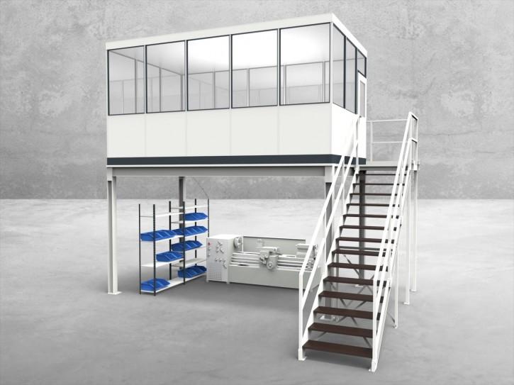 Hallenbüro auf Stahlbau 4-seitig 5,00 x 3,00 m 15 m² (HS4-5030)