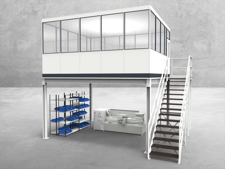 Hallenbüro auf Stahlbau 4-seitig 5,00 x 4,50 m 22,5 m² (HS4-5045)