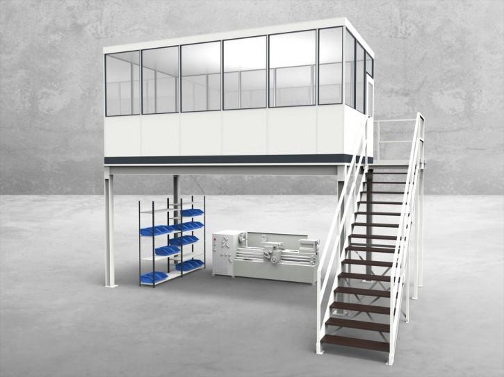 Hallenbüro auf Stahlbau 4-seitig 5,50 x 3,00 m 16,5 m² (HS4-5530)