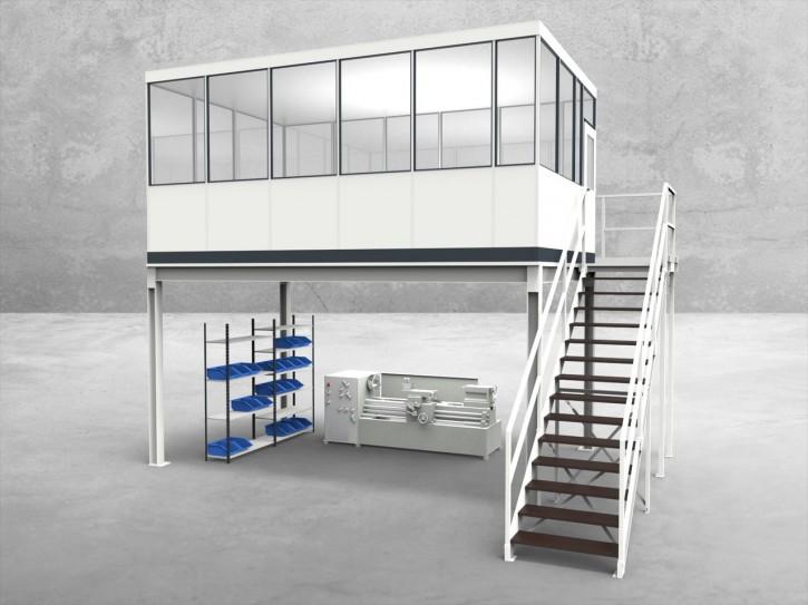 Hallenbüro auf Stahlbau 4-seitig 5,50 x 3,50 m 19,25 m² (HS4-5535)