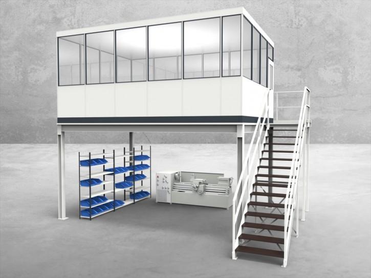 Hallenbüro auf Stahlbau 4-seitig 5,50 x 4,00 m 22 m² (HS4-5540)