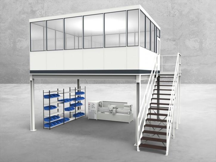 Hallenbüro auf Stahlbau 4-seitig 5,50 x 4,50 m 24,75 m² (HS4-5545)