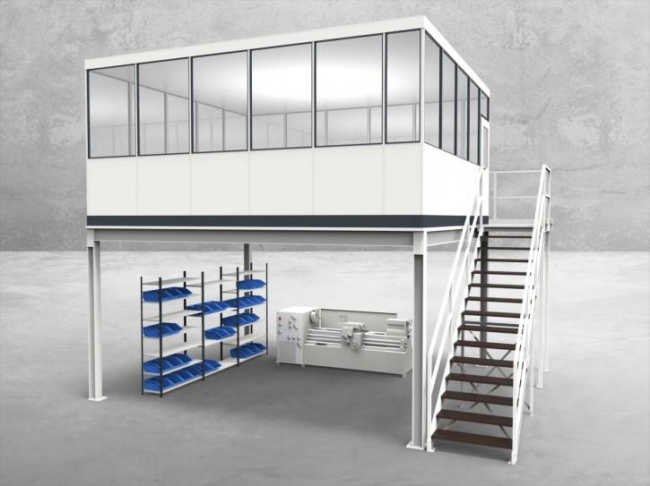 Hallenbüro auf Stahlbau 4-seitig 5,50 x 5,00 m 27,5 m² (HS4-5550)