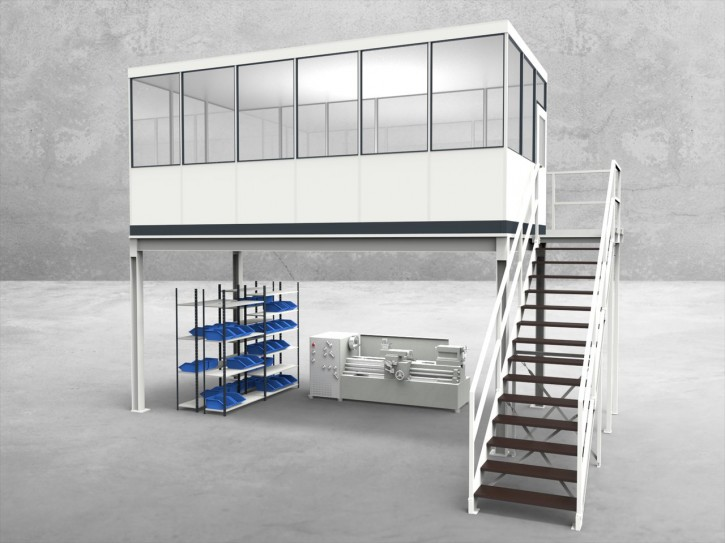 Hallenbüro auf Stahlbau 4-seitig 6,00 x 3,00 m 18 m² (HS4-6030)