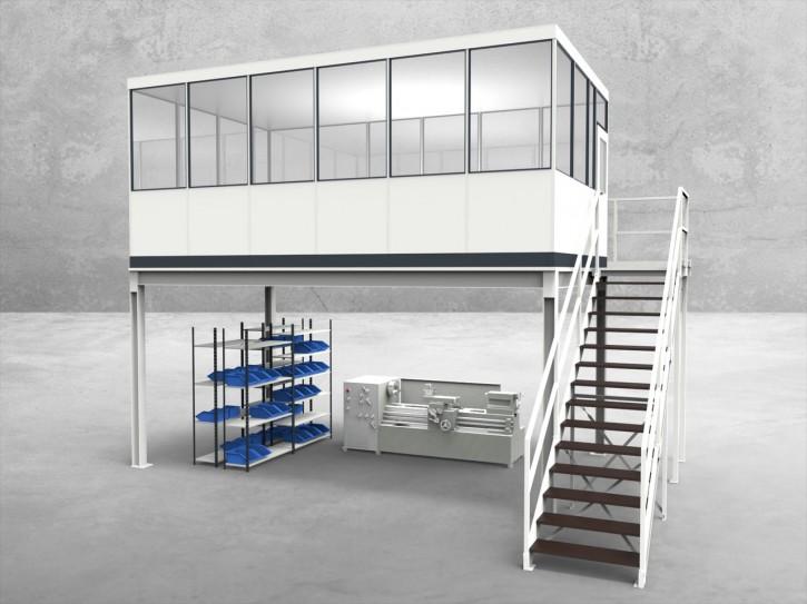 Hallenbüro auf Stahlbau 4-seitig 6,00 x 3,50 m 21 m² (HS4-6035)