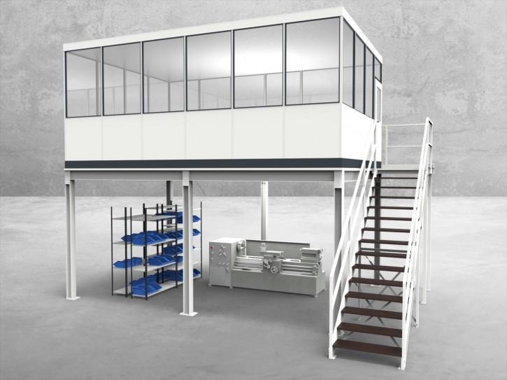 Hallenbüro auf Stahlbau 4-seitig 6,00 x 4,00 m 24 m² (HS4-6040)
