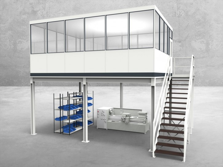 Hallenbüro auf Stahlbau 4-seitig 6,00 x 4,50 m 27 m² (HS4-6045)