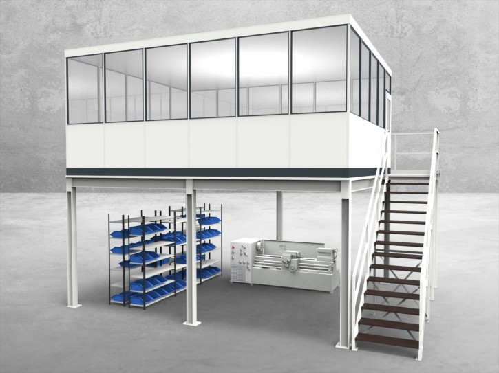 Hallenbüro auf Stahlbau 4-seitig 6,00 x 5,00 m 30 m² (HS4-6050)