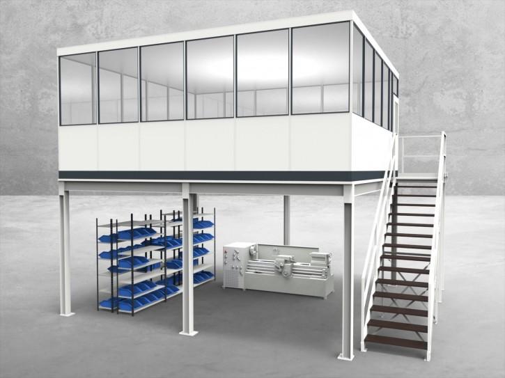 Hallenbüro auf Stahlbau 4-seitig 6,00 x 5,50 m 33 m² (HS4-6055)