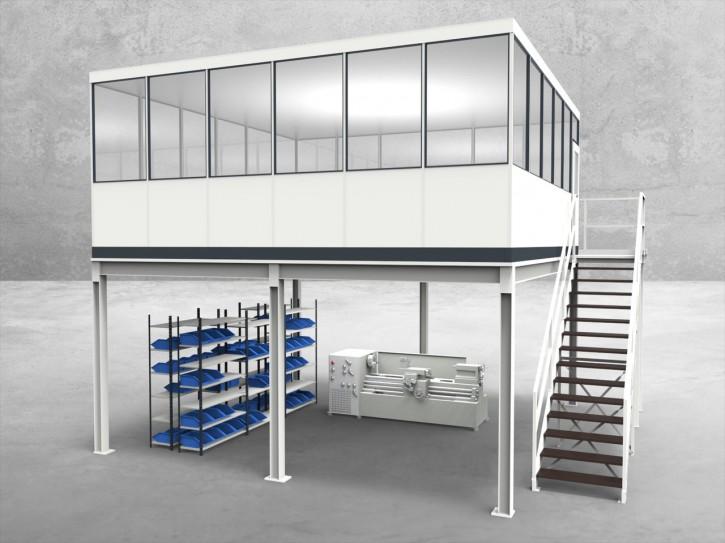 Hallenbüro auf Stahlbau 4-seitig 6,00 x 6,00 m 36 m² (HS4-6060)