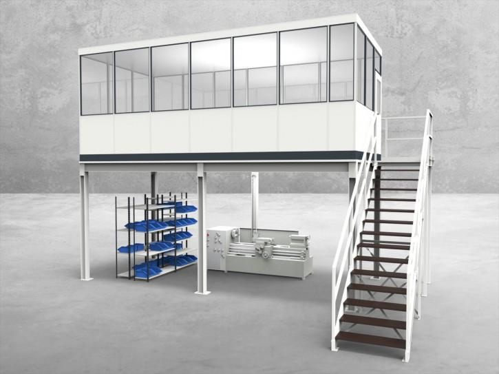 Hallenbüro auf Stahlbau 4-seitig 6,50 x 3,00 m 19,5 m² (HS4-6530)