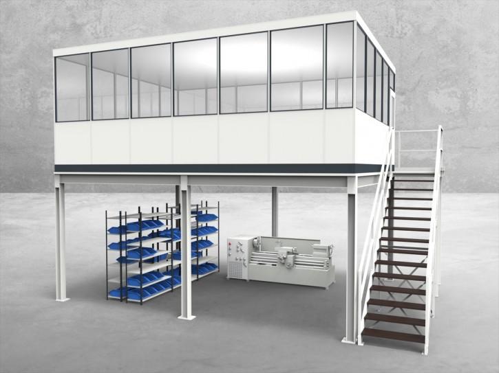 Hallenbüro auf Stahlbau 4-seitig 6,50 x 5,00 m 32,5 m² (HS4-6550)
