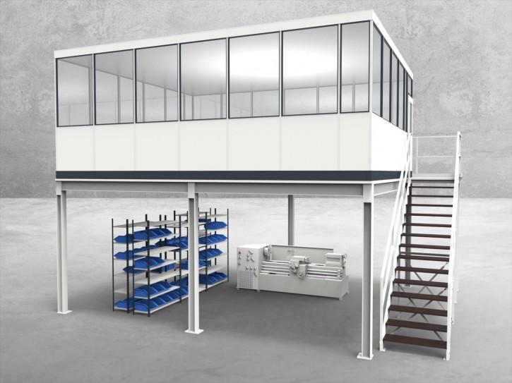Hallenbüro auf Stahlbau 4-seitig 6,50 x 5,50 m 35,75 m² (HS4-6555)