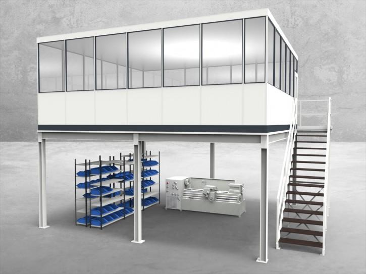 Hallenbüro auf Stahlbau 4-seitig 6,50 x 6,00 m 39 m² (HS4-6560)
