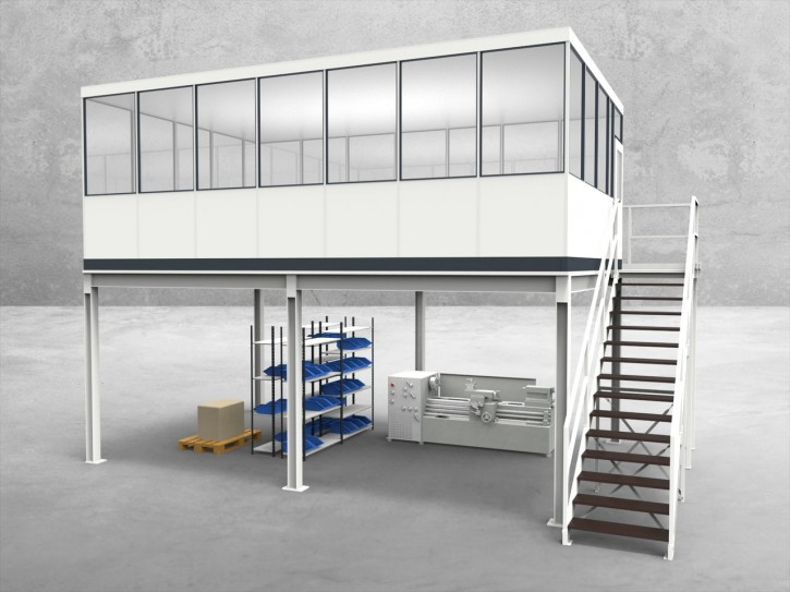 Hallenbüro auf Stahlbau 4-seitig 7,00 x 4,50 m 31,5 m² (HS4-7045)