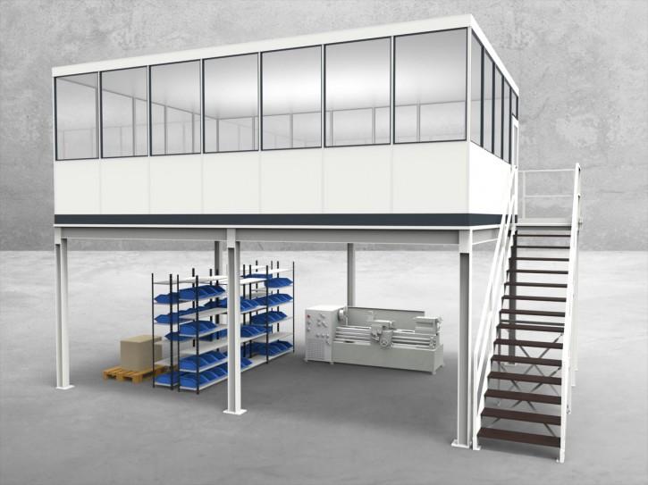 Hallenbüro auf Stahlbau 4-seitig 7,00 x 5,00 m 35 m² (HS4-7050)