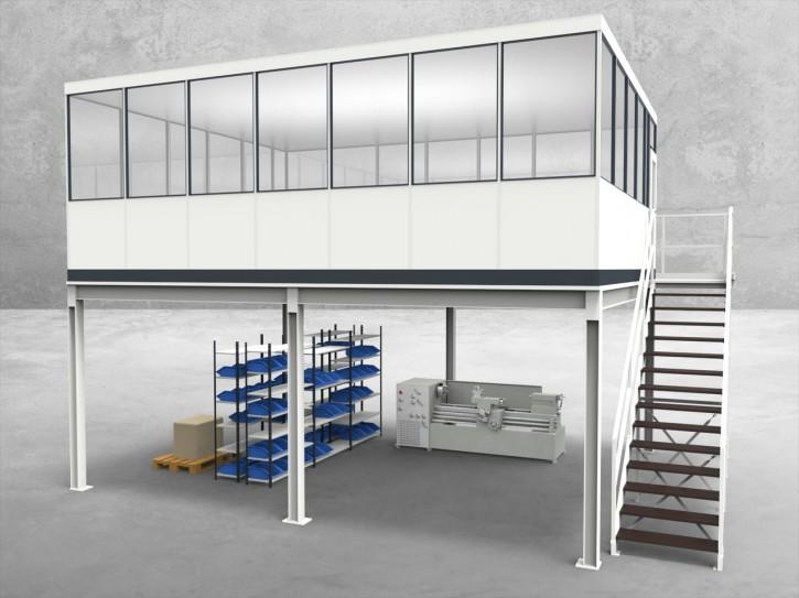 Hallenbüro auf Stahlbau 4-seitig 7,00 x 5,50 m 38,5 m² (HS4-7055)
