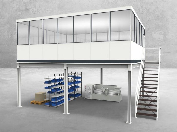 Hallenbüro auf Stahlbau 4-seitig 7,00 x 6,00 m 42 m² (HS4-7060)