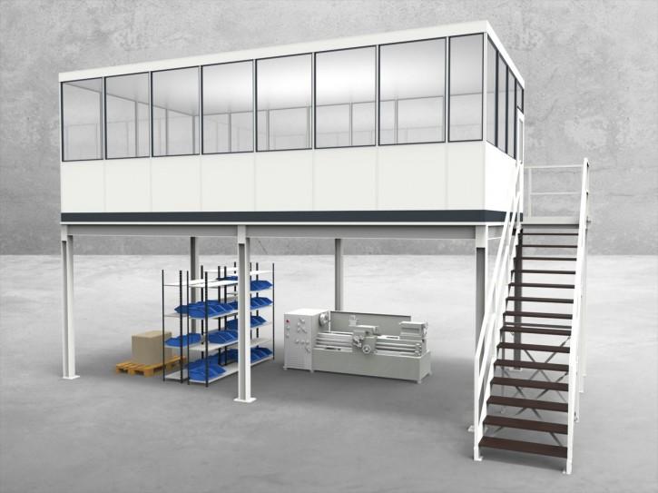Hallenbüro auf Stahlbau 4-seitig 7,50 x 4,00 m 30 m² (HS4-7540)