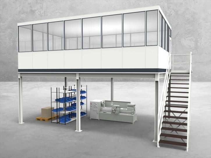 Hallenbüro auf Stahlbau 4-seitig 7,50 x 4,50 m 33,75 m² (HS4-7545)