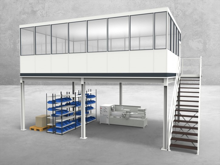 Hallenbüro auf Stahlbau 4-seitig 7,50 x 5,00 m 37,5 m² (HS4-7550)