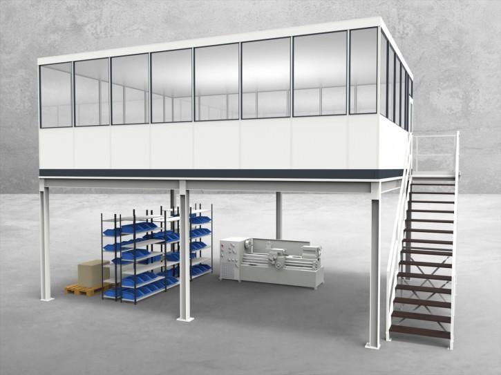 Hallenbüro auf Stahlbau 4-seitig 7,50 x 5,50 m 41,25 m² (HS4-7555)