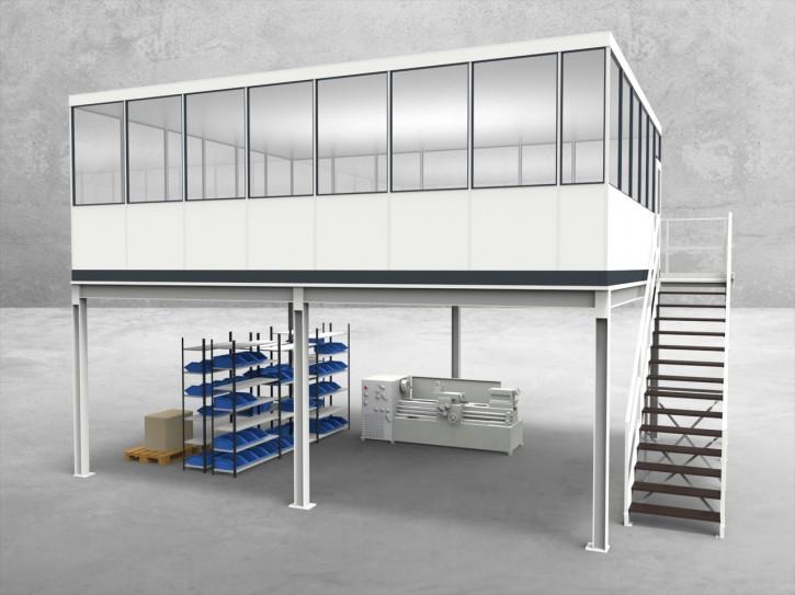 Hallenbüro auf Stahlbau 4-seitig 7,50 x 6,00 m 45 m² (HS4-7560)