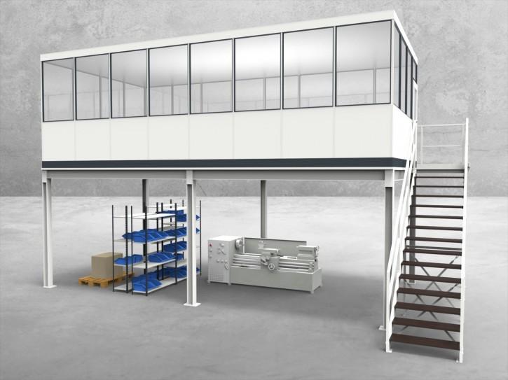 Hallenbüro auf Stahlbau 4-seitig 8,00 x 4,00 m 32 m² (HS4-8040)