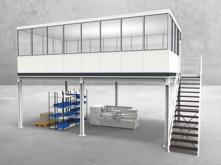 Hallenbüro auf Stahlbau 4-seitig 8,00 x 4,50 m 36 m² (HS4-8045)