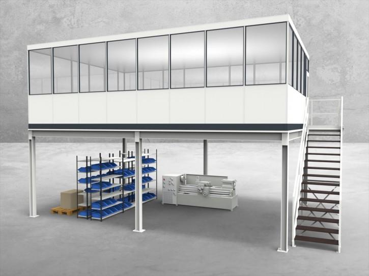 Hallenbüro auf Stahlbau 4-seitig 8,00 x 5,50 m 44 m² (HS4-8055)