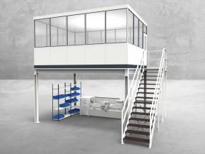 Hallenbüro auf Stahlbau 4-seitig 5,00 x 4,00 m 20 m² (HS4-5040)