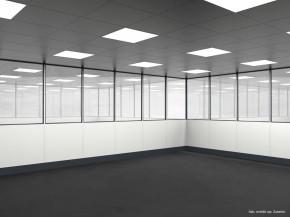 Hallenbüro auf Stahlbau 4-seitig 5,50 x 5,50 m 30,25 m² (HS4-5555)